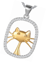 "Cat Lover"" Sterling Silver Cubic Zirconia Animal Cat Tag Necklace Lucky ... - $18.42"