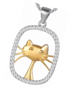 """Cat Lover"""" Sterling Silver Cubic Zirconia Animal Cat Tag Necklace Lucky ... - $18.42"""