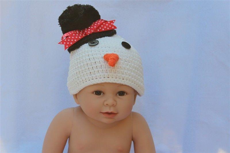 a617d1679d4 S l1600. S l1600. Previous. Handmade Knit Crochet Newborn Baby Child Kids  Snowman Hat Cap Beanie White Black