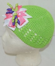 Unbranded Infant Toddler Lime Green Hat Stretch Removable Bow Multicolor image 2
