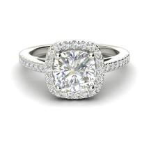1.39Ct Cushion Gorgeous Diamond Unique Halo Engagement Ring 14K Real Whi... - $451.27