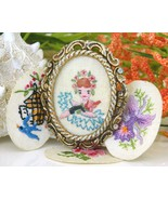 Vintage Embroidered Oval Picture Frame Brooch Pin Flowers Girl  - $24.95