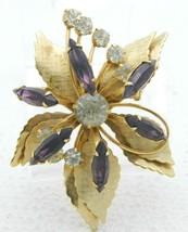 Purple Clear Rhinestone Art Deco Style Gold Tone Pendant Pin Brooch - $29.69