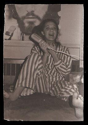 Primary image for Laughing Teenager striped pajamas pjs Huge Poster Face Background Vintage Photo