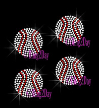 Set of 4 - BASEBALL Balls - Iron on Rhinestone Transfer Bling Hot Fix Sp... - $9.99