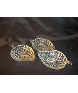 Vintage Set of  Crystal, Pressed Glass Grape Leaf Shaped Bowls - $36.00