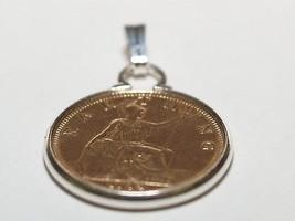 pendentif pièce Farthing 95e anniversaire 1919 monture argent - $23.37