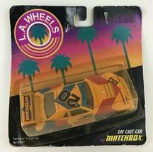 Matchbox LA Wheels Vintage 1987 Mustang #20 Die Cast Car Orange Michelin New - $18.66