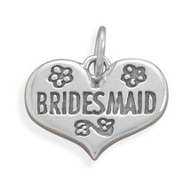 Sterling Silver Bridesmaid Heart Charm - $34.95