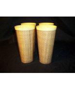 Set of 4 Vintage 70's Tumblers, Retro Burlap Cups