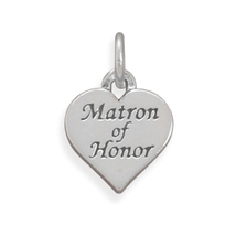 Silver Matron Of Honor Heart Shape Wedding Charm - $17.98