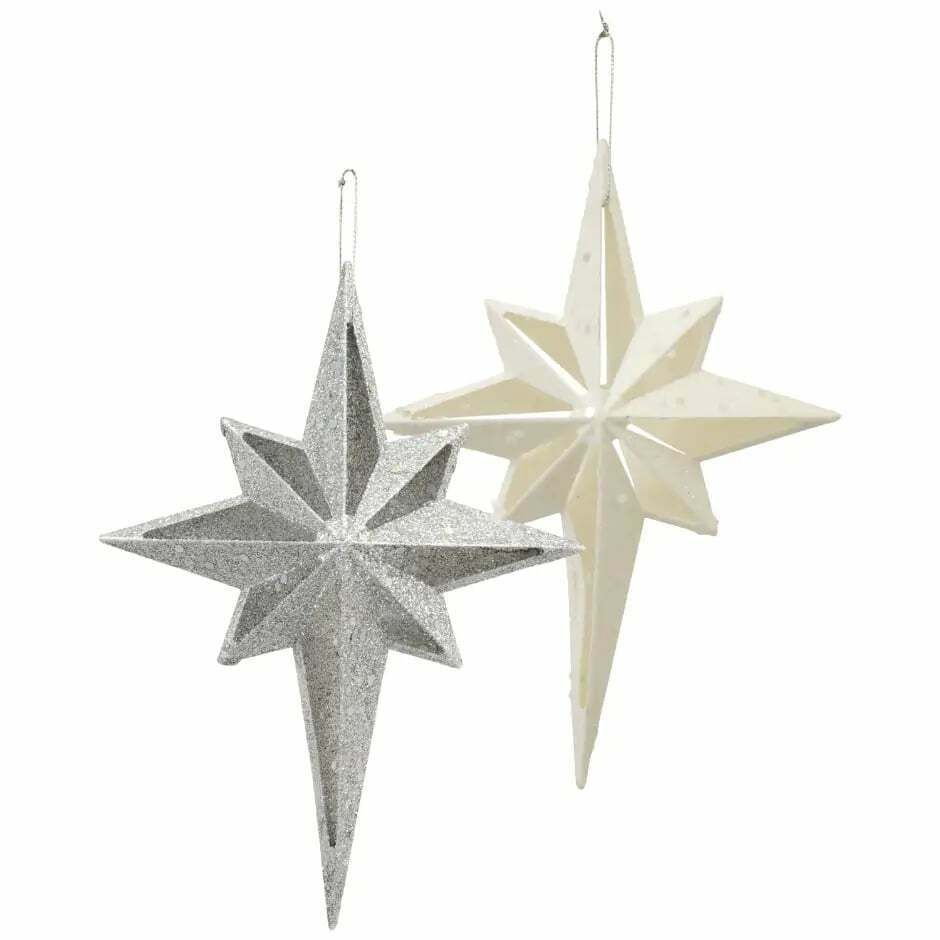 Christmas House Glittery Plastic Star-Shaped Christmas Ornaments, 5.5x7.5 in. Wh - $5.99