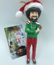 """Bob ross with hat 5"""" blow mold santa christmas ornament jersey paint brush - $14.89"""