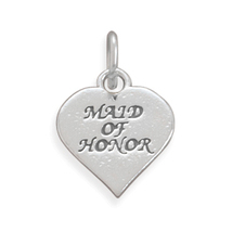 New Silver Heart Wedding Charm With Maid Of Honor Front - $19.96