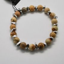 SILVER 925 BRACELET WITH HEMATITE AND JASPER BWI-3 MADE IN ITALY BY MASCHIA image 5