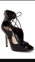 Vince Camuto Saraya Black Lace Up Leather Sandals Heels Size 9.5 New - $39.59