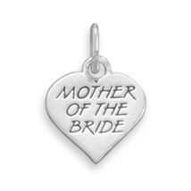 Genuine .925 Sterling Silver Heart Charm For The Mother Of The Bride - $21.22