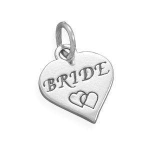 Sterling Silver Gift Charm Bride With Double Hearts On Heart