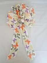 """2 Large 10"""" Hand Made Wired Purple and Orange Butterfly Spring Bows Easter - $13.61"""