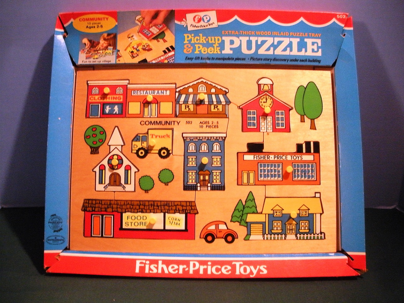 Vtg. Fisher Price Pick Up 'N Peek #502 Community Wooden Peg Puzzle NR MINT w/BOX