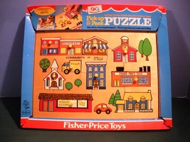 Vtg. Fisher Price Pick Up 'N Peek #502 Community Wooden Peg Puzzle NR MI... - $28.99