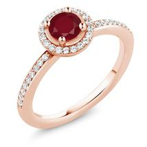 0.74 Ct Round Red Ruby 18K Rose Gold Plated Silver Engagement Ring - $143.99