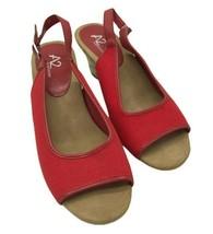 A2 AEROSOLES Zentury Womens Red Canvas Slingback Wedge Sandals Shoes Sz 9 - $9.99