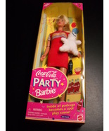 Barbie Coca Cola Party Barbie 1998 Mattel Cool Play Scene and Bear in Se... - $19.99