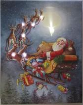 Christmas LED Light Canvas Santa Sleigh with Reindeer - $18.95