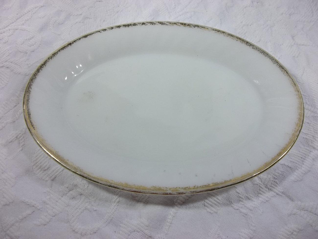 Fire King, Anchor Hocking Milk Glass Serving Platter, Gold Rim - $10.00