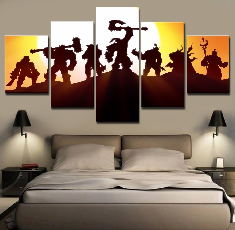 Framed 5 piece characters world of warcraft poster canvas for Home decoration pieces