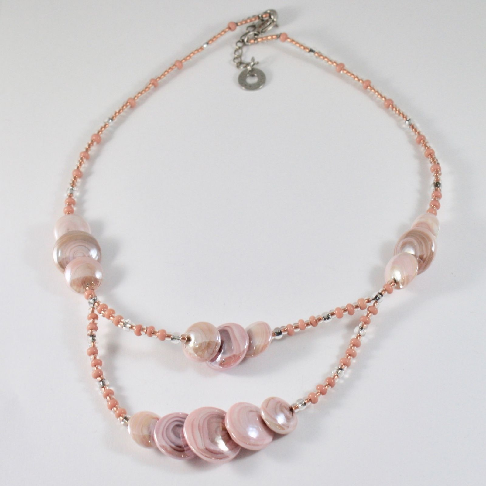 ANTICA MURRINA VENEZIA LONG DOUBLE NECKLACE WITH BIG PINK MURANO GLASS DISCS