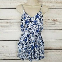 H&M Divided Blue White Floral Romper POCKETS  Size 4 EUC - $11.88