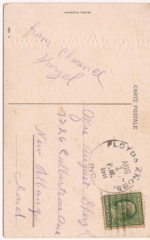 1911 Gold Embossed Hearty Birthday Greetings Post Card! Posted August 1, 1911!