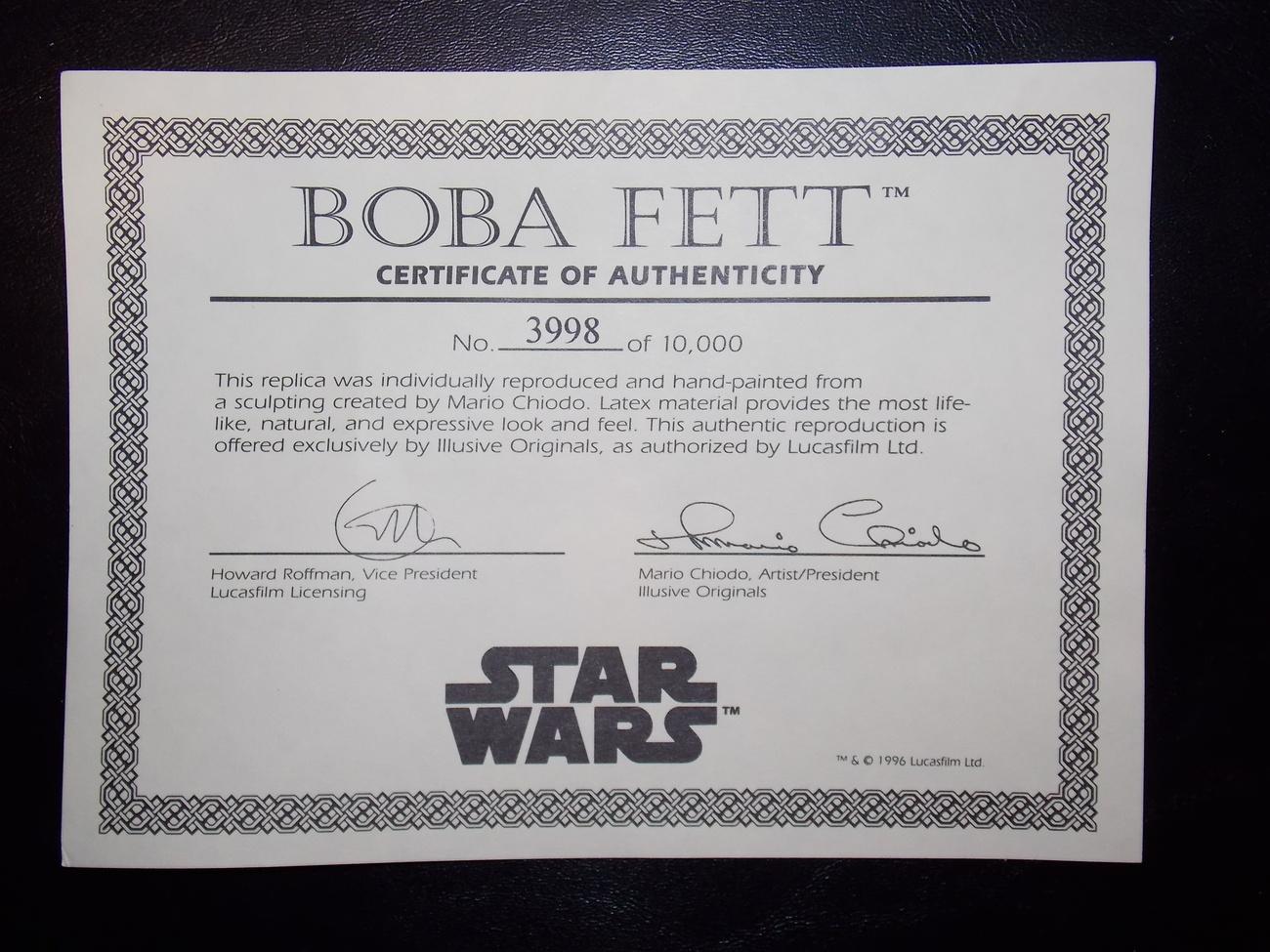 1996 Illusive Concepts Boba Fett Replica Bust Brand New In Box #3998 of 10,000