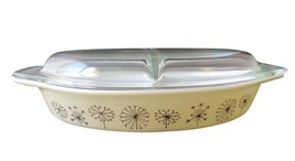 Pyrex Promotional Dandelion Gold 1959 Divided Casserole Dish w/Lid 1.5Q - $64.34