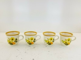 Lot of 4 Mikasa Garden Club Fresh FloralCoffee Cups Made in Japan Yellow Flowers - $27.18