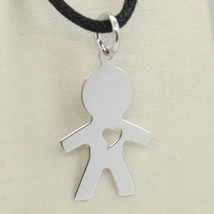 18K WHITE GOLD LUSTER PENDANT WITH BOY BABY WITH HEART PERFORAT MADE IN ... - $82.00