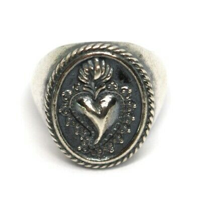 Silver Ring 925, Sacred Heart Mary Jane, Effect Antique, Burnished, Band