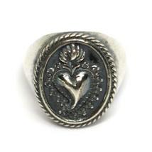 Silver Ring 925, Sacred Heart Mary Jane, Effect Antique, Burnished, Band image 1
