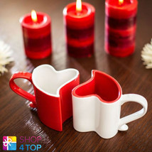 HEART SHAPED 2 MUGS LOVE CUPS COFFEE TEA CERAMIC RED WHITE ROMANTIC VALE... - $21.52