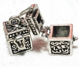 PRAYER BOX OPENS AND CLOSES FINE PEWTER PENDANT CHARM - 15mm L x 17mm W x 15mm D image 1