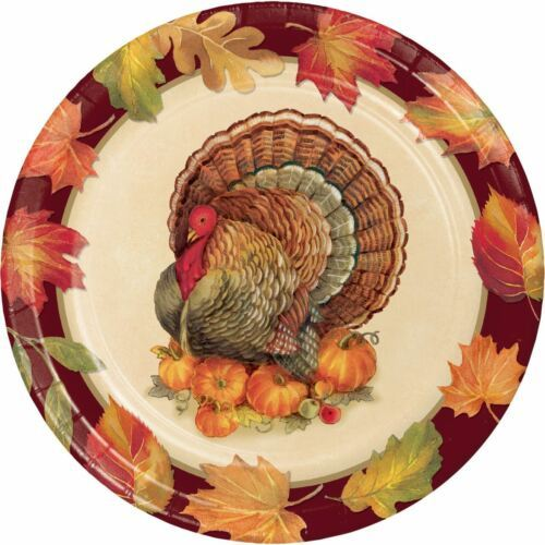 "Turkey Traditions 8 Ct 8.75"" Dinner Plates Thanksgiving Banquet"