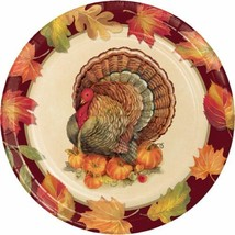 "Turkey Traditions 8 Ct 8.75"" Dinner Plates Thanksgiving Banquet - $5.39"