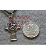 Pewter Pentagram Pentacle Celtic Cross Necklace Pendant Amul - $12.85
