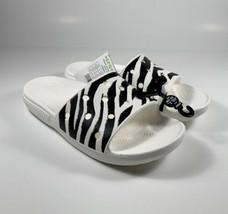 CROCS Classic Animal Print Zebra Slides Sandals White Women's Size 9 *NEW* RARE - $37.53