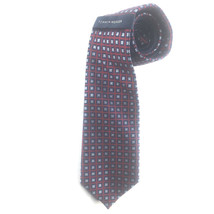 Tommy Hilfiger Tie 100% Silk Red With Black & Silver Squares New With Tags - $17.55