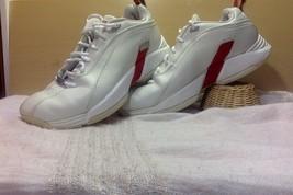 Reebox DMX Mens Comfort Walking Shoes White & Red Leather Silver Hardwar... - $19.79