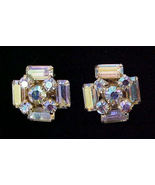 Brilliant Vintage Aurora Borealis Earrings clip - $8.00