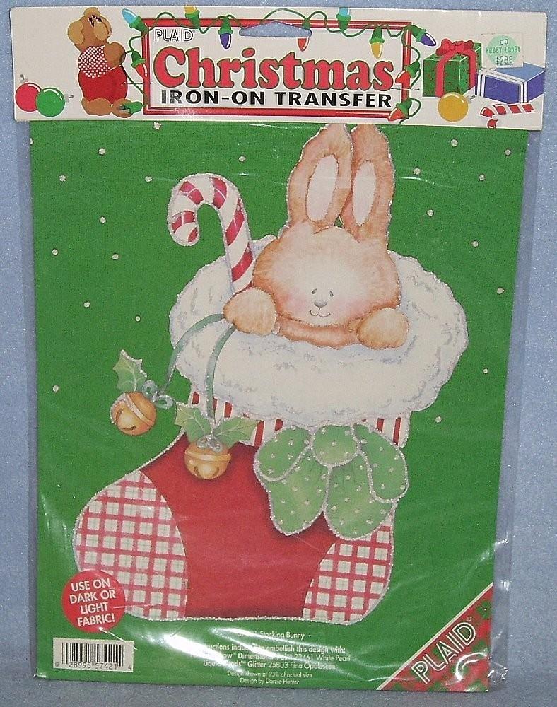 Plaid Stocking Bunny #57421 Christmas Iron-on Transfer 1993 NIP by:Darcie Hunter - $1.99